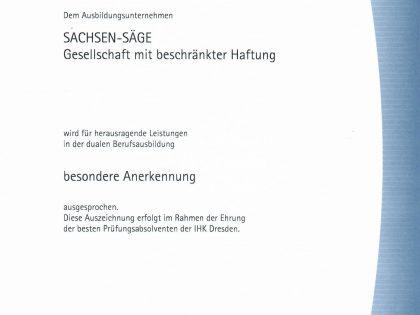 SACHSEN-SÄGE GmbH – ein von der IHK ausgezeichneter Ausbildungsbetrieb